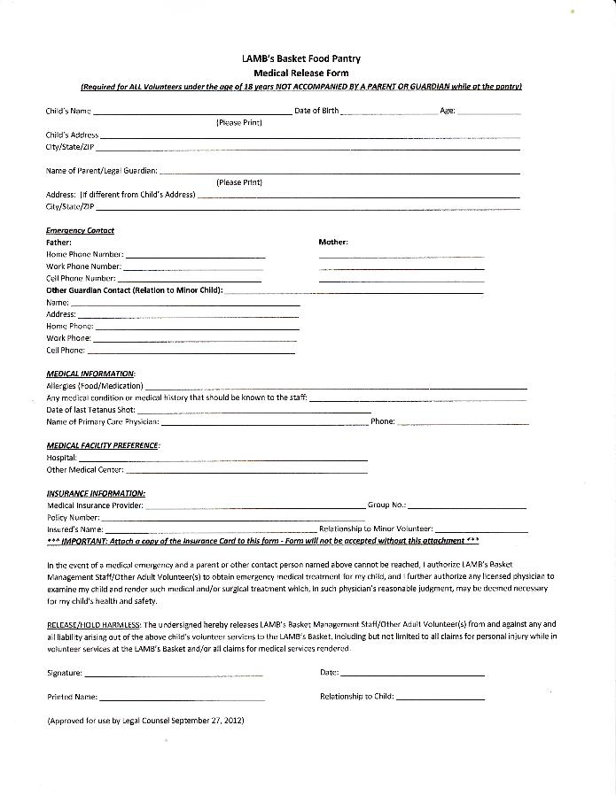 Beautiful Medical Release Form   Minor Volunteers   PDF Version.pdf. Size : 412.985  Kb Type : Pdf.